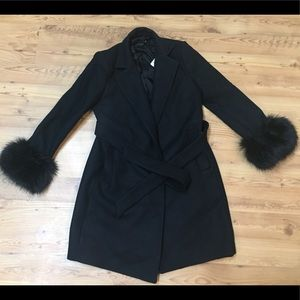 Women's Zara Long Jacket w/ faux fur sleeves